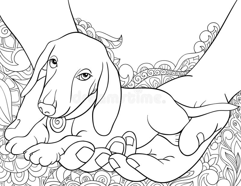 Adult coloring book,page a cute little dog in the hands on the abstract background for relaxing.Zen art style illustration. A cute little dog in the hands on stock illustration
