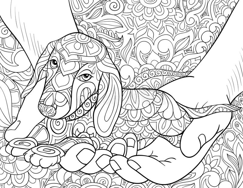 Adult coloring book,page a cute little dog in the hands on the floral background for relaxing.Zen art style illustration. A cute little dog in the hands on the royalty free illustration
