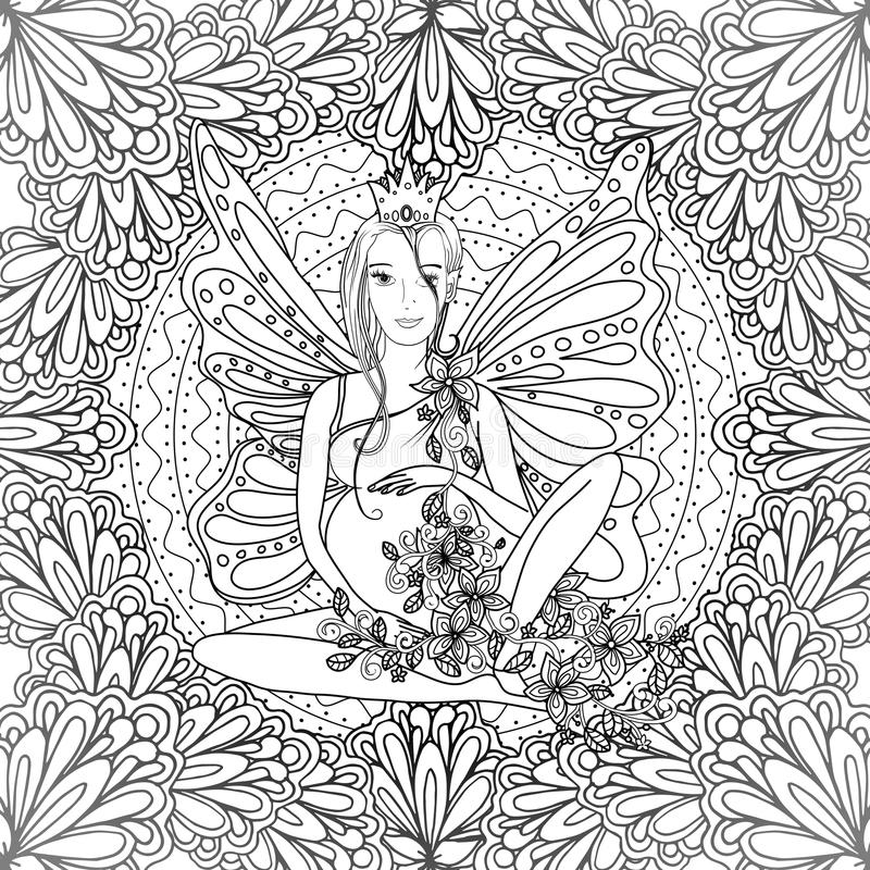 Download Adult Coloring Book Page With Fairy Pregnant Lady Stock Image