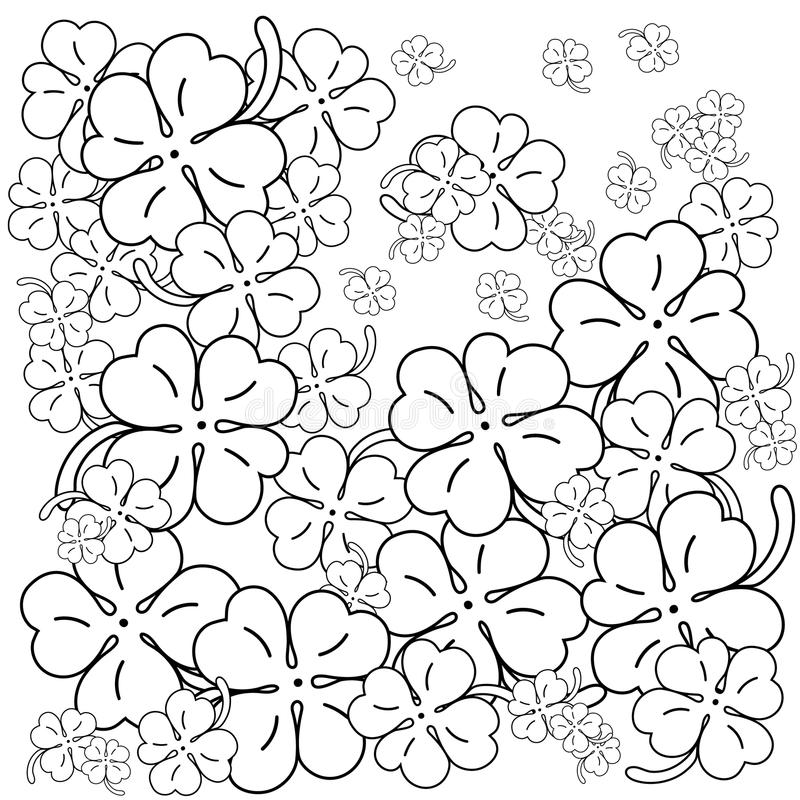 Download Adult Coloring Book Page Four Leaf Clovers Hand Drawn Vector Illustration Stock