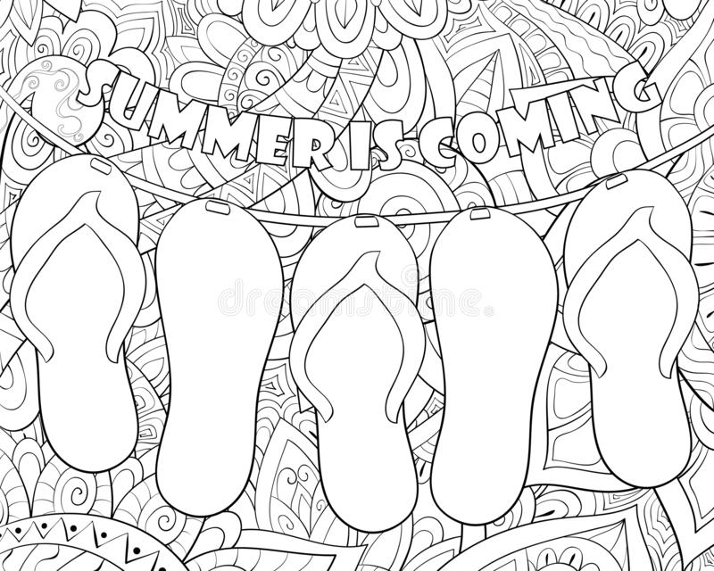 Adult coloring book,page a group of beach slippers image for relaxing. royalty free illustration