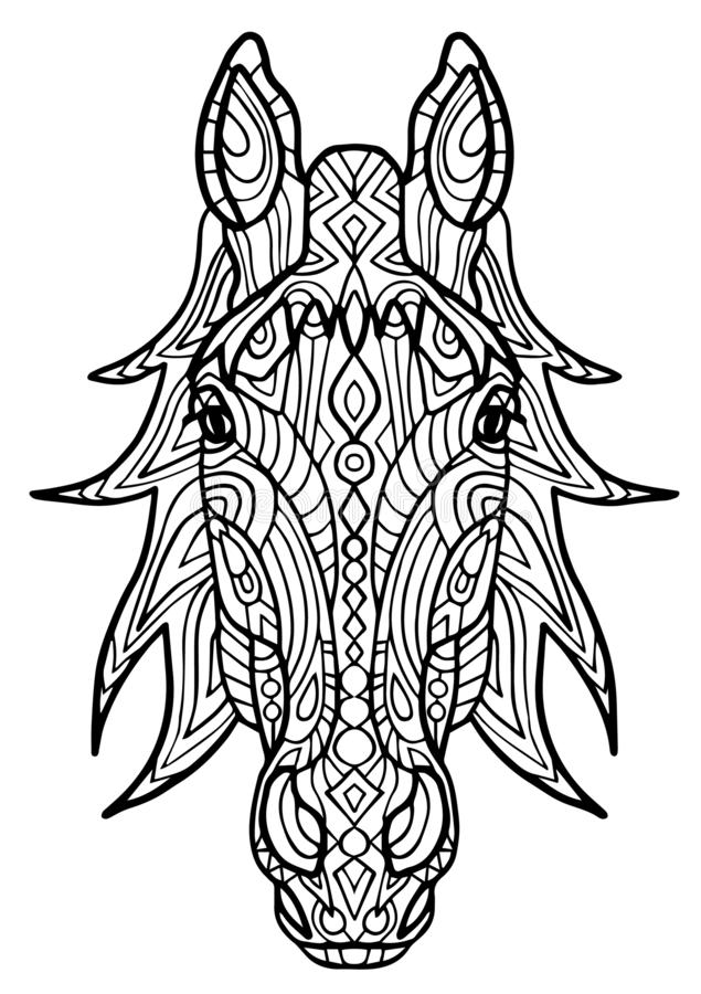 Adult coloring book,page a head of horse for relaxing.Zen art style illustration. design for spiritual relaxation for royalty free illustration
