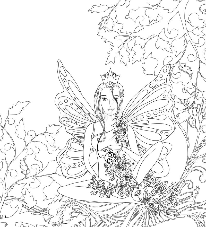 Adult Coloring Book Page, Isolated Fairy Lady With ...