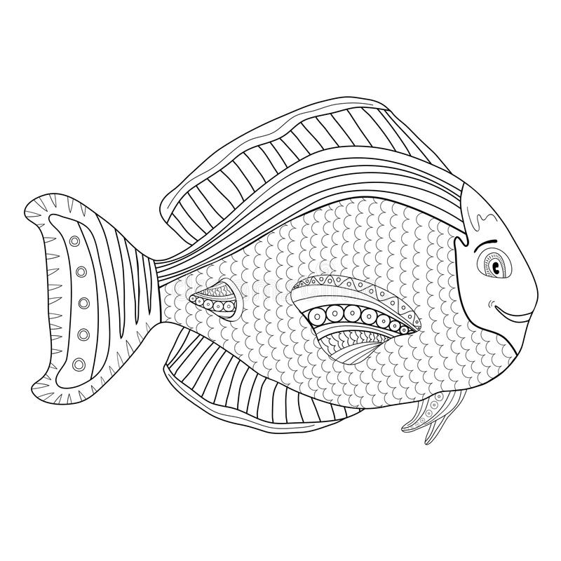 Download Adult Coloring Book Page Kids With Fish Character Stock Vector