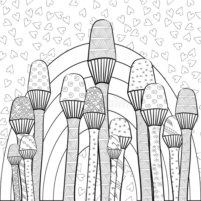 Adult Coloring Book Page Magic Mushrooms Garden Whimsical