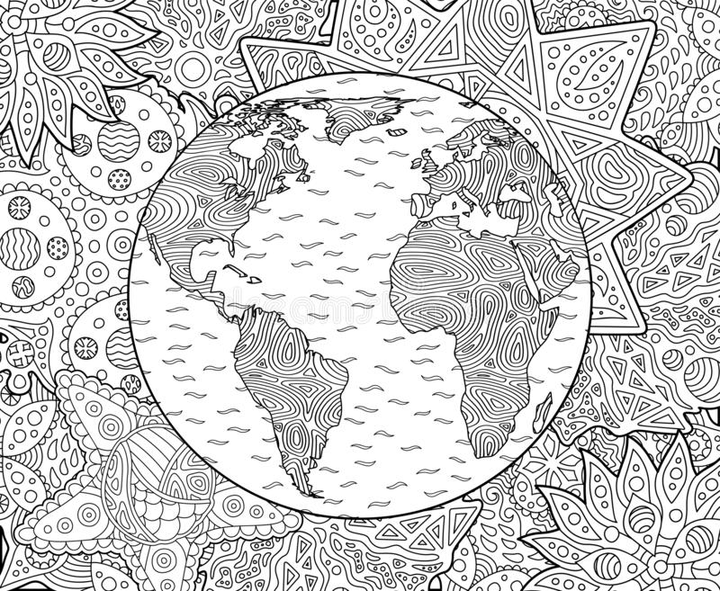 Adult coloring book page with planet earth. Beautiful adult coloring book page with stylized planet earth stock illustration