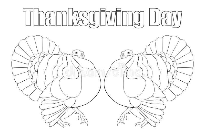 Adult coloring book,page a Thanksgiving Day theme illustration for relaxing. stock illustration