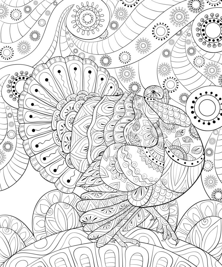 Adult Coloring Book,page A Thanksgiving Day Theme Illustration For  Relaxing. Stock Vector - Illustration Of Coloring, Design: 126679463