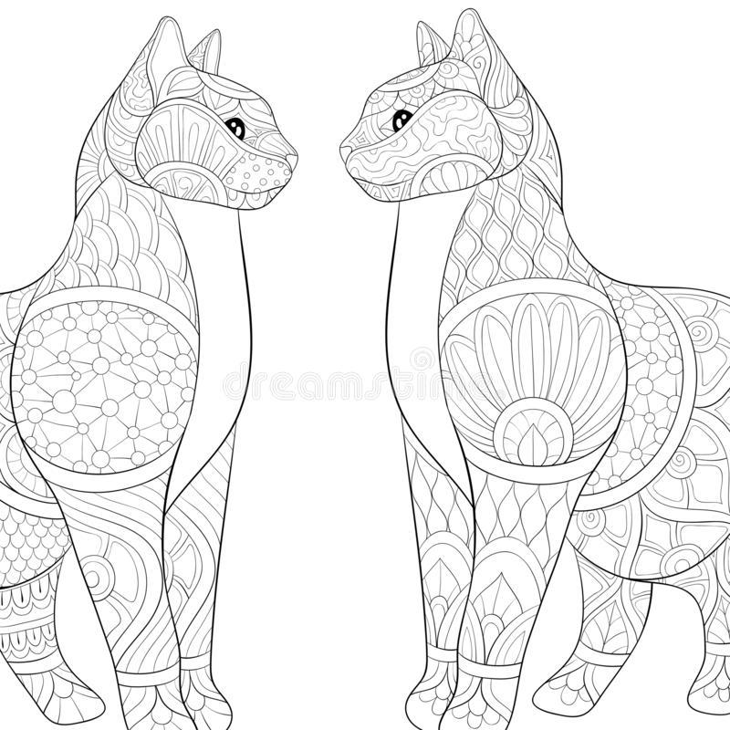 Adult coloring book,page two lovely cats  with ornaments image for relaxing.Zen art style illustration royalty free illustration