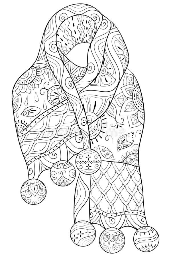 Adult coloring book,page an wool scarf with zen ornaments for relaxing. vector illustration