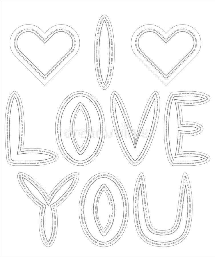Adult coloring book. Coloring page with word \'love\' and tropical birds and plants. Outline illustration vector illustration