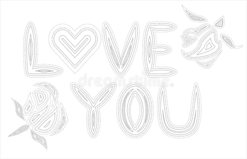 Adult coloring book. Coloring page with word \'love\' and tropical birds and plants. Outline illustration royalty free illustration
