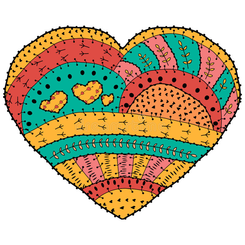 Adult coloring book. Vector heart shaped pattern Ethnic design in whimsical style vector illustration