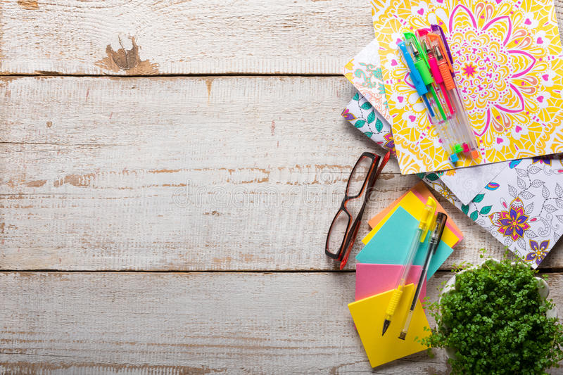 Adult coloring books, new stress relieving trend stock photos
