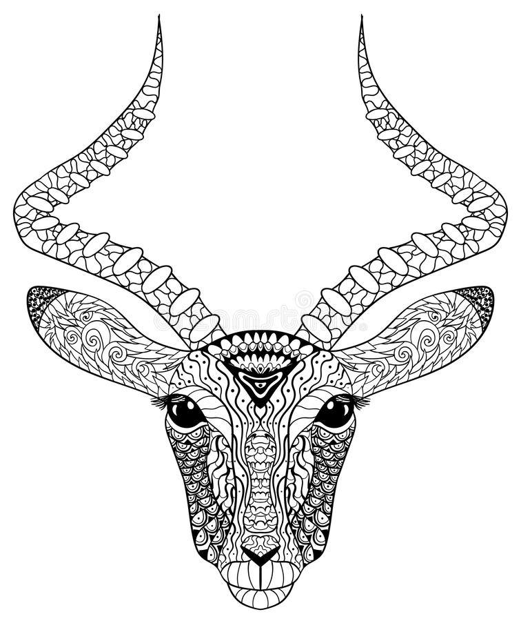 Adult coloring page for antistress art therapy. Head of the antelope in zentangle style. Zendoodle template for t-shirt, tattoo, poster or cover. Vector royalty free illustration