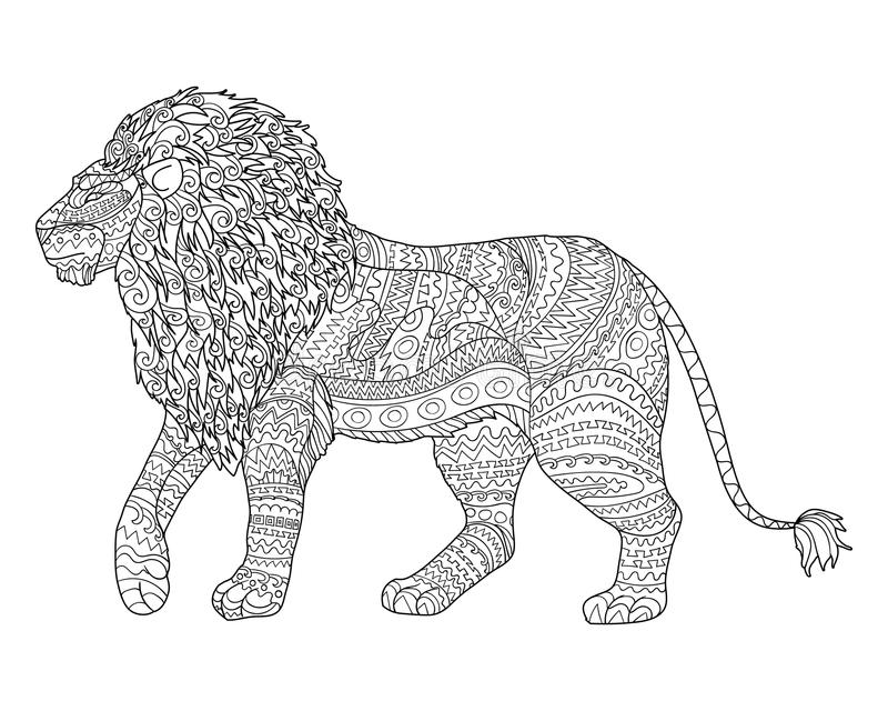 Adult Coloring Page For Antistress With Lion. Stock Vector ...