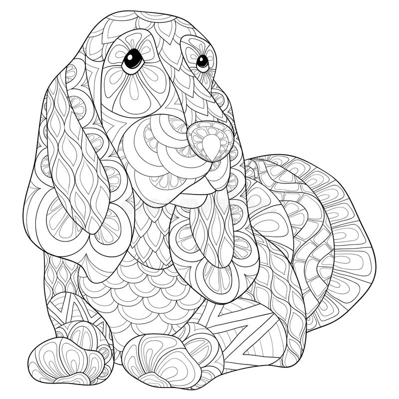 Download Adult Coloring Page Beagle Dog Stock Vector