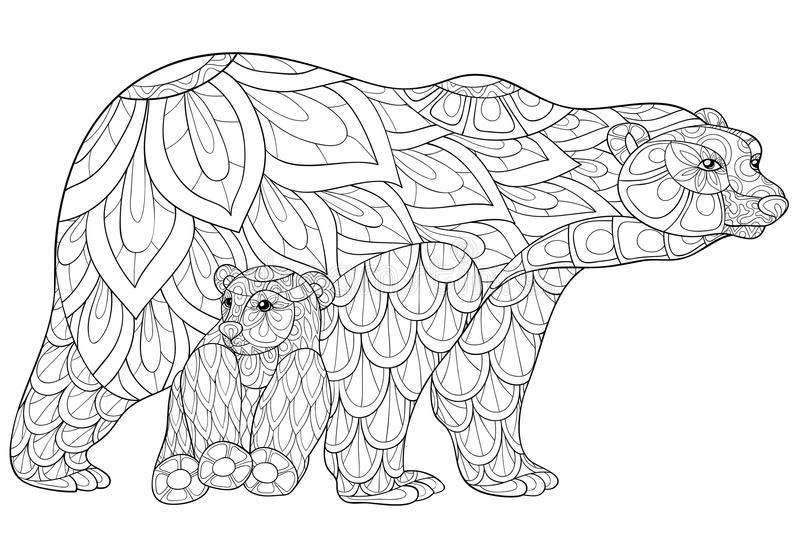 Adult coloring page bears vector illustration