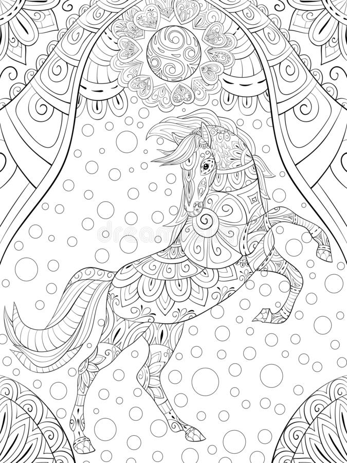 Free Adult Coloring Page,book A Cute Horse For Relaxing,zen Art Style Illustration. Stock Images - 126677514