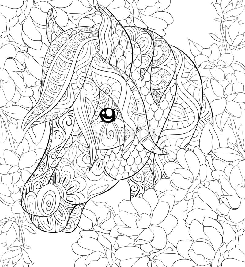 Free Adult Coloring Page,book A Cute Horse For Relaxing,zen Art Style Illustration. Royalty Free Stock Photos - 126677518