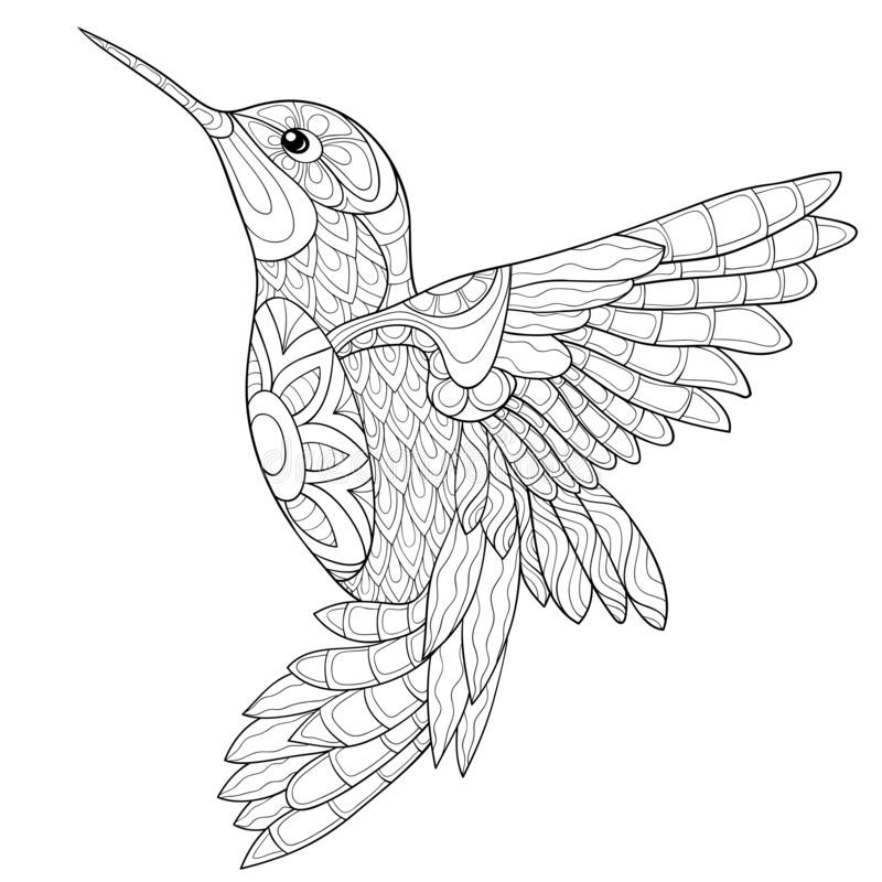 Adult Coloring Page Book A Bird Image For Relaxing Stock Vector Illustration Of Ornamental Animal 128020432