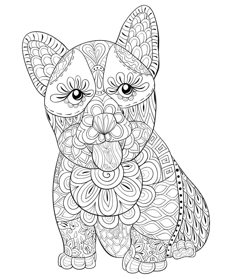 Adult coloring page a cute isolated dog with the tongue out for relaxing.Zen art style illustration. A cute isolated dog with ornaments,image for relaxing.Zen vector illustration