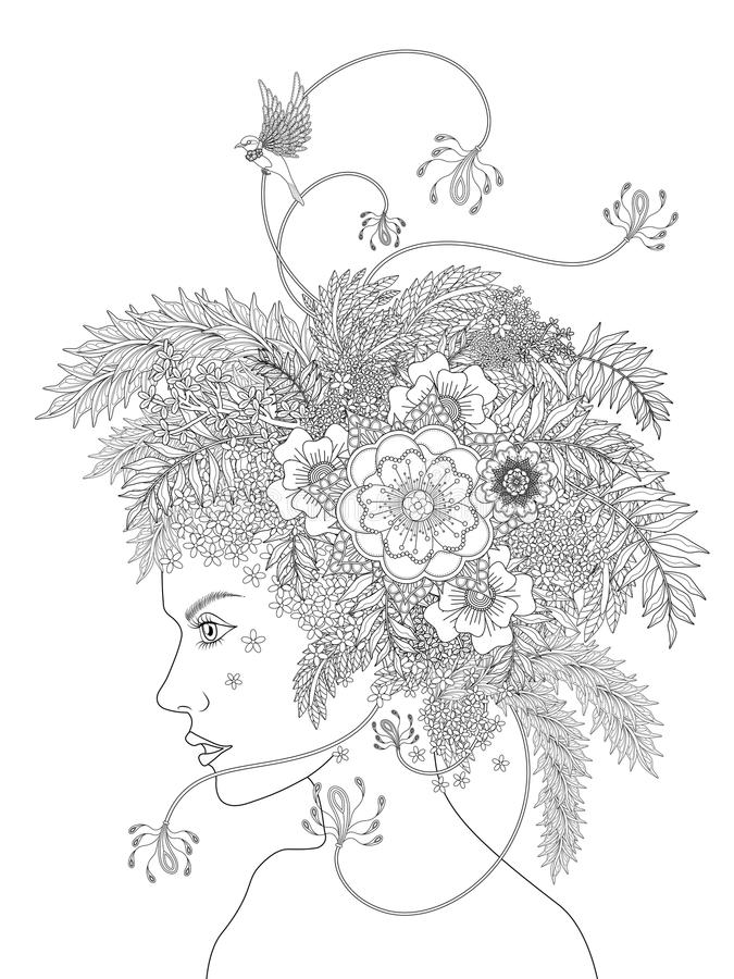 Adult coloring page stock illustration