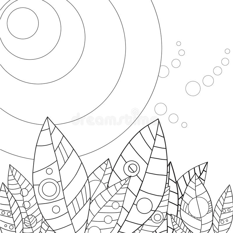 Adult Coloring Page Leaves In The Sun Stock Vector - Illustration of ...