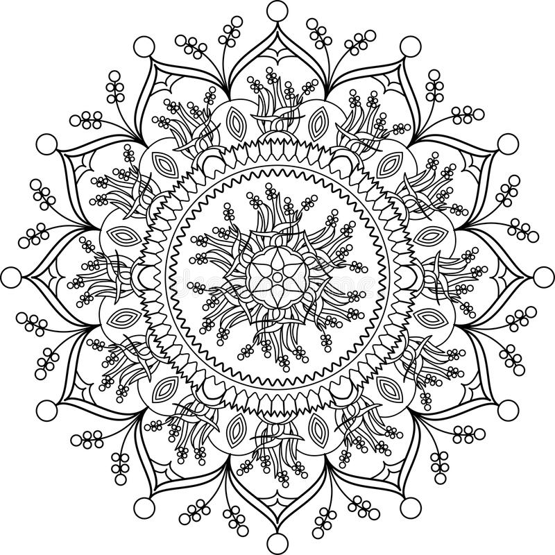 Adult Coloring Page Mandala With Flowers Stock Vector