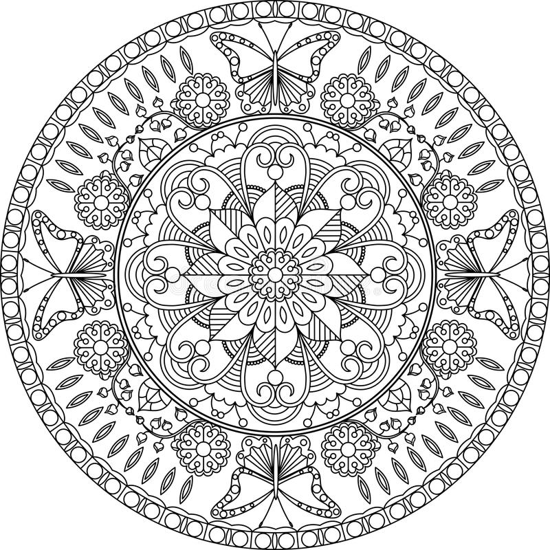 Adult Coloring Page, Mandala With Flowers And Butterflies. Stock ...