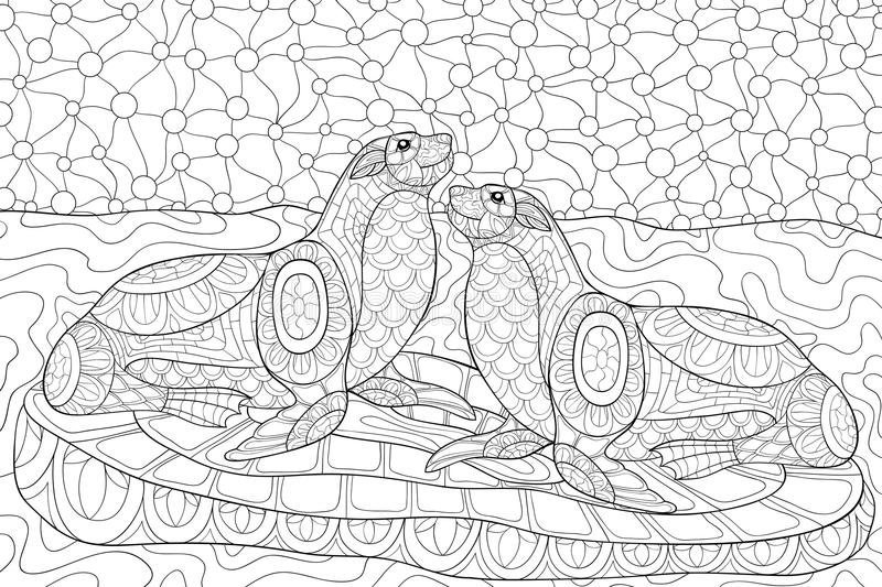 Download Adult Coloring Page Two Otters Stock Vector   Illustration Of  Fauna, Ornate: 89978120