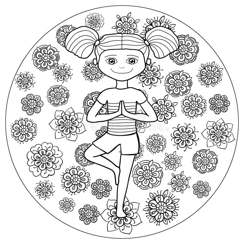 Adult coloring page young girl in tree yoga pose stock for Yoga coloring pages