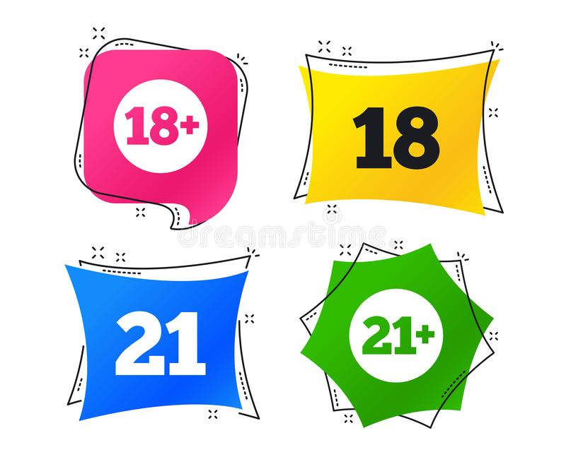 Adult content icons. Eighteen plus years sign. Vector vector illustration