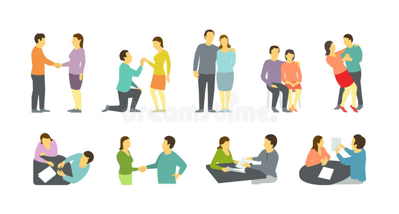 Adult couple, betrothal and other different situations. Mom and dad adult couple, betrothal and other different situations. Documents at the table. Dance and stock illustration
