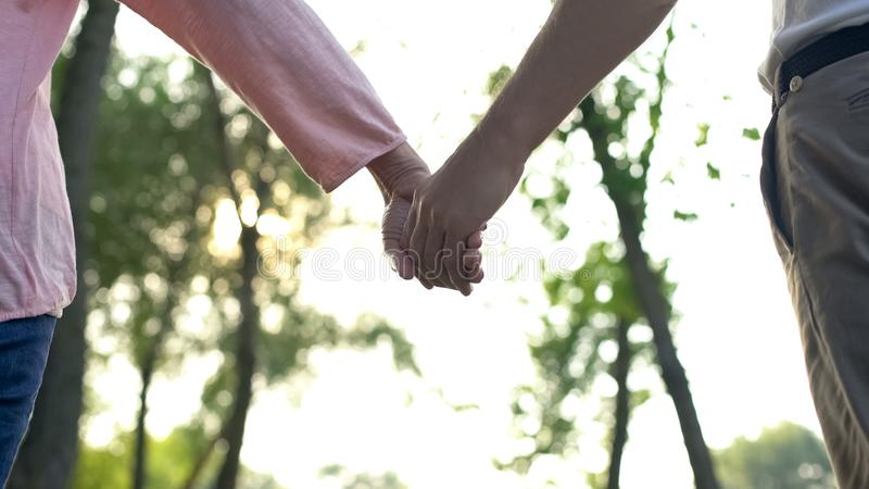 Adult couple holding hands walking in park, together through life difficulties royalty free stock photo