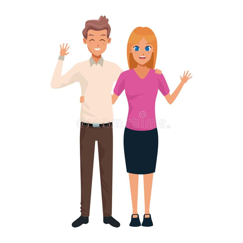 Adult couple icon, flat design. Cartoon adult couple waving icon over white background, colorful design. vector illustration stock illustration
