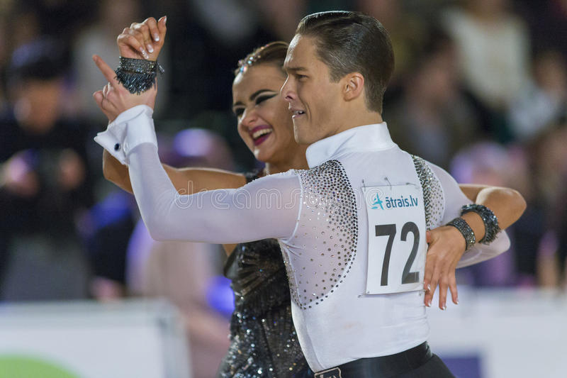 Download Adult Dance Couple Performs Youth Latin-American Program On The WDSF Baltic Grand Prix-2106 Championship Editorial Photography - Image: 83709157