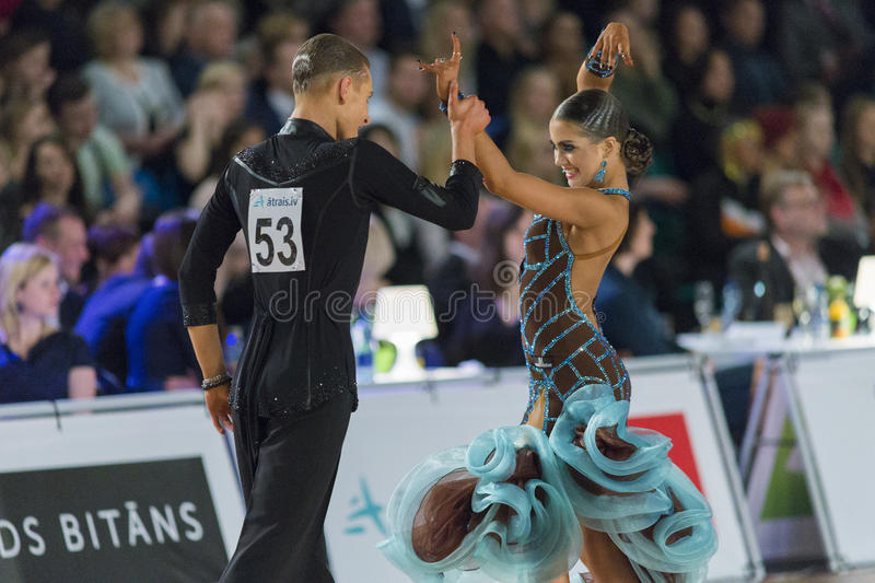 Download Adult Dance Couple Performs Youth Latin-American Program On The WDSF Baltic Grand Prix-2106 Championship Editorial Photography - Image: 83709752