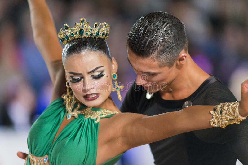 Download Adult Dance Couple Performs Youth Latin-American Program On The WDSF Baltic Grand Prix-2106 Championship Editorial Stock Photo - Image: 83710173