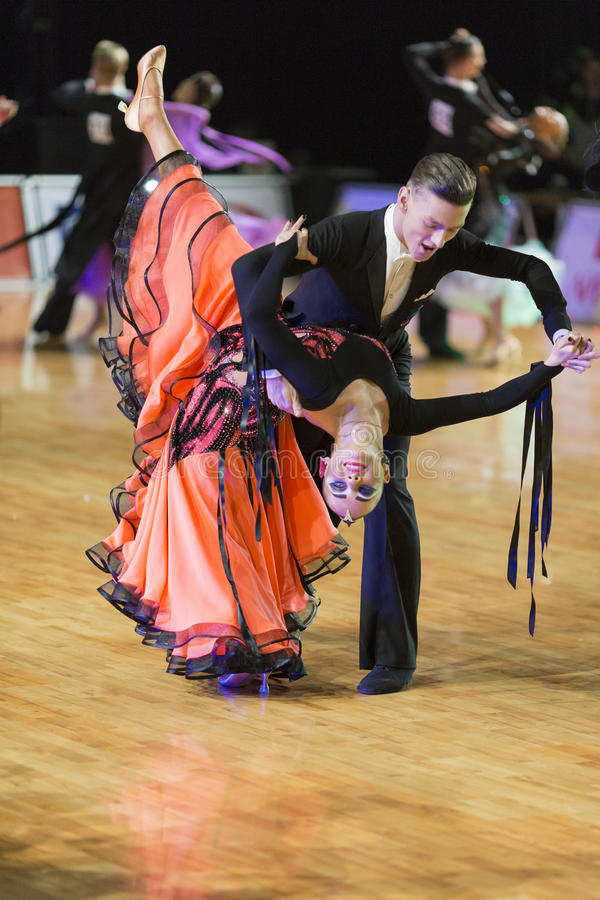Download Adult Dance Couple Performs Youth Standard European Program On The WDSF Baltic Grand Prix-2106 Championship Editorial Stock Image - Image: 83715524