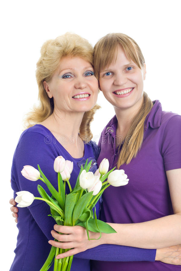 Adult daughter and mother royalty free stock photos