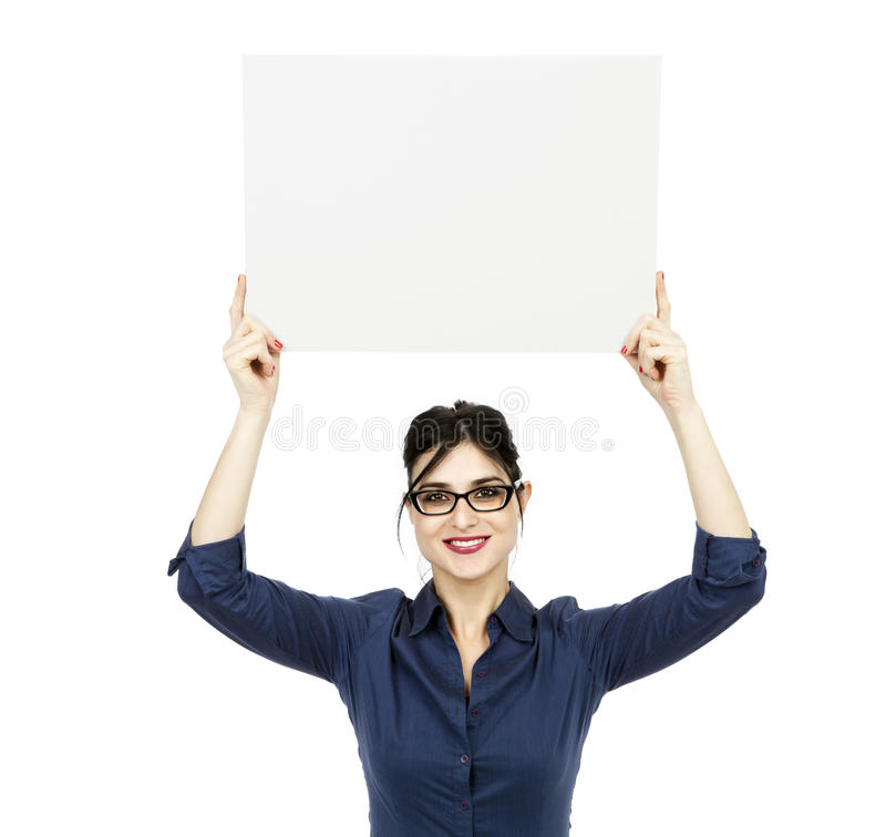 Download Business Woman Holding Sign Stock Image - Image: 29795163