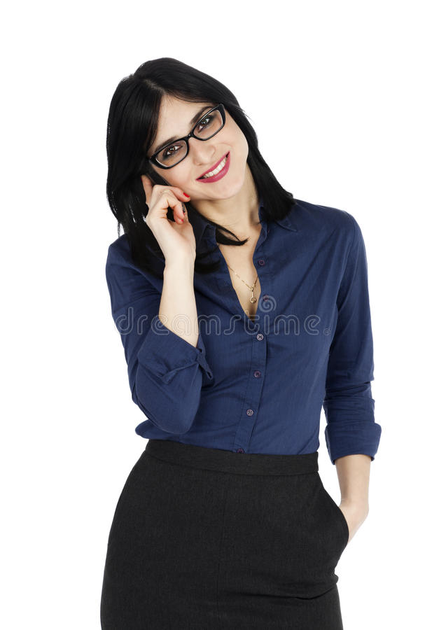 Download Business Woman Smiling With A Phone Stock Photo - Image of beautiful, medium: 29794280
