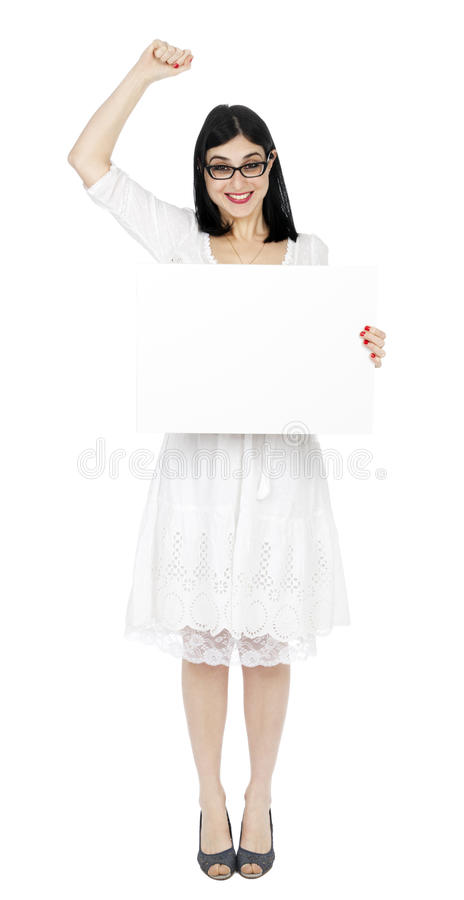 Summer Dress Woman Holding Sign and Cheering