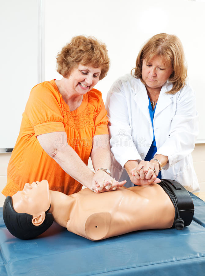 Download Adult Ed - Learning CPR stock image. Image of mature - 33222703