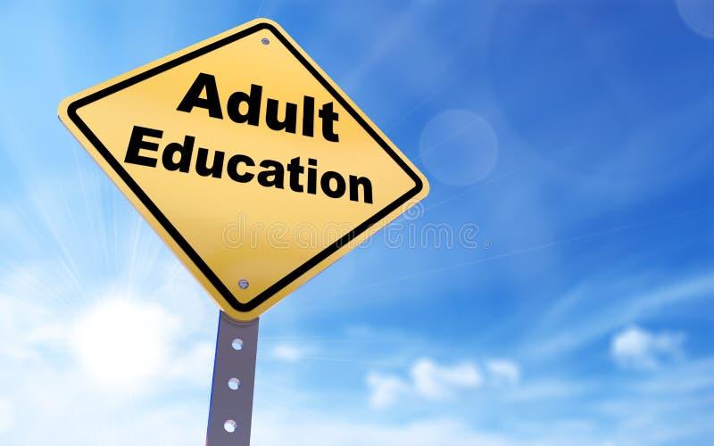 Adult education sign. On blue sky background,3d rendered stock illustration