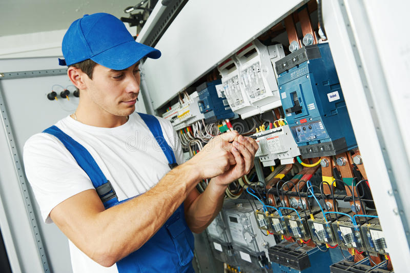 Adult electrician engineer worker stock image