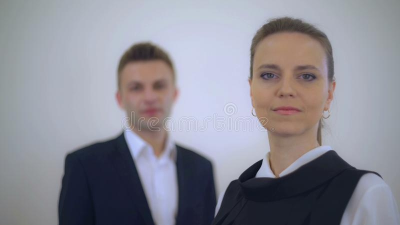Adult employees in uniform stock photos