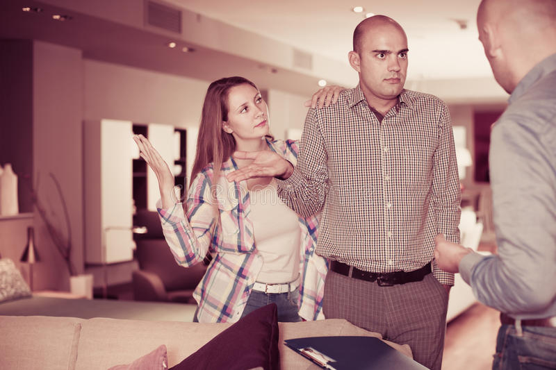 Adult family couple dissatisfied with service stock photo