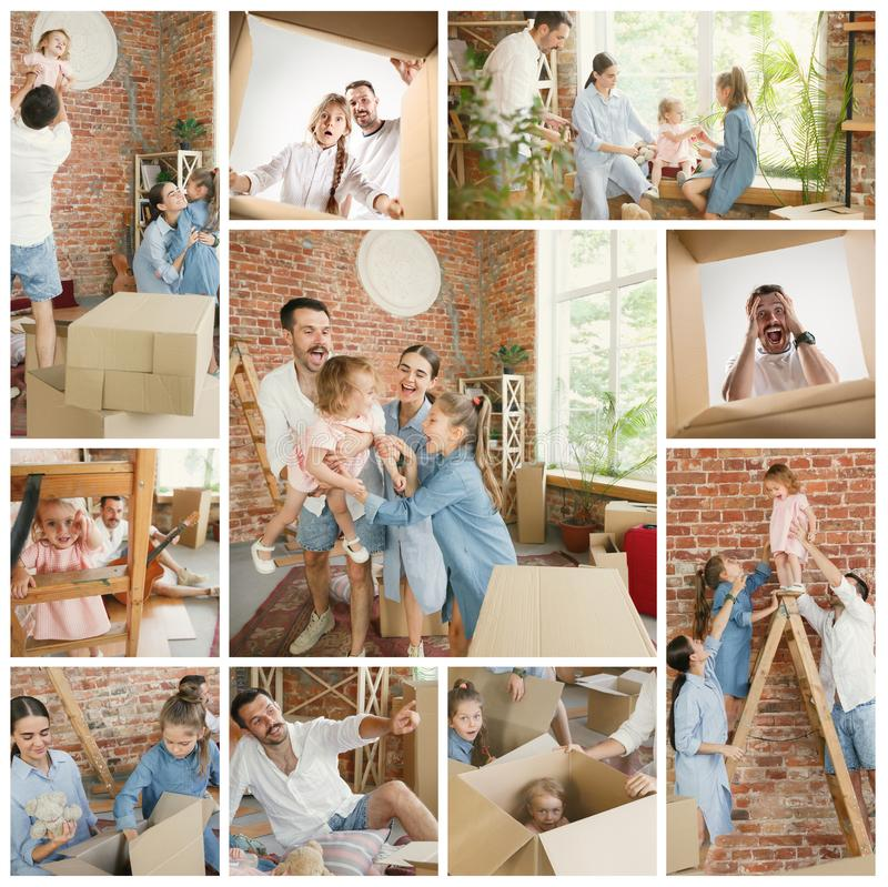 Adult family moved to a new house or apartment royalty free stock photo